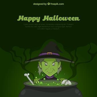 Halloween hintergrund mit gruseliger hexe