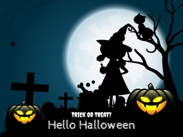 Halloween-hintergrund mit hallo halloween-text
