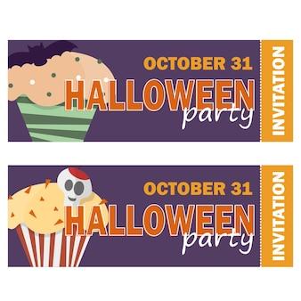 Halloween-hintergrund mit halloween-cupcake - einladung zur party oder grußkarte