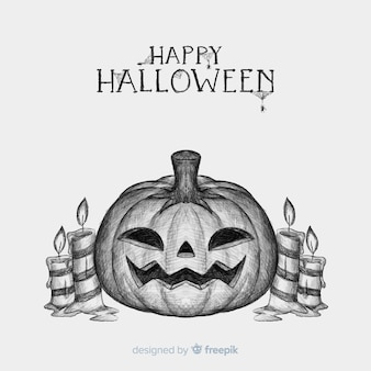 Halloween-Hintergrund mit Hand gezeichnetem Kürbis