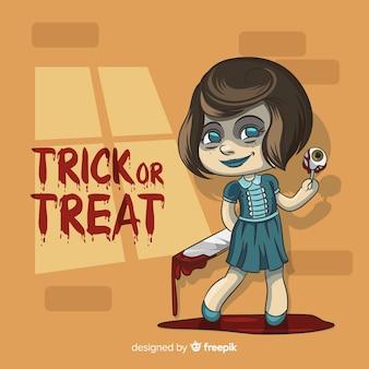 Halloween-hintergrund mit hand gezeichnetem schrecklichem mädchen