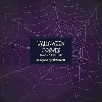 Halloween-hintergrund mit hand gezeichnetem spinnennetz