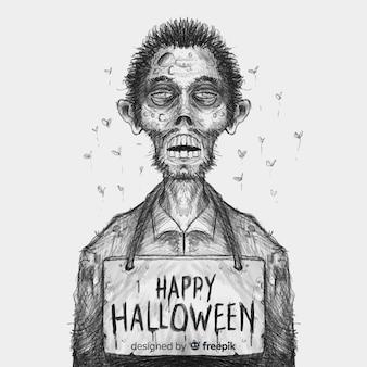 Halloween-hintergrund mit hand gezeichnetem vampir