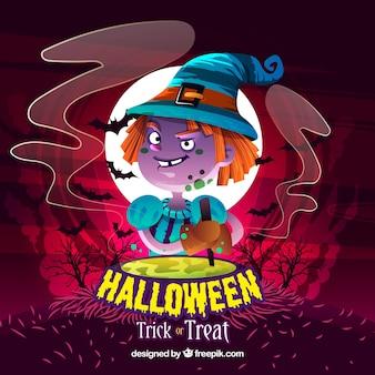 Halloween hintergrund mit kleinen hexe