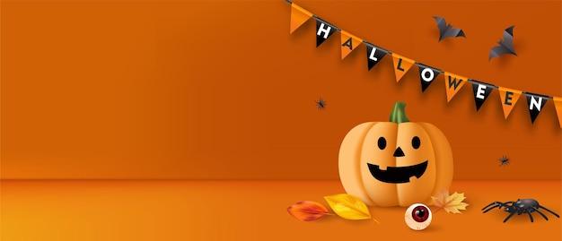 Halloween-hintergrund mit kürbis, spinnen und fledermäusen. vektor