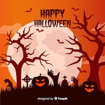 Halloween-hintergrund mit kürbis und kirchhof
