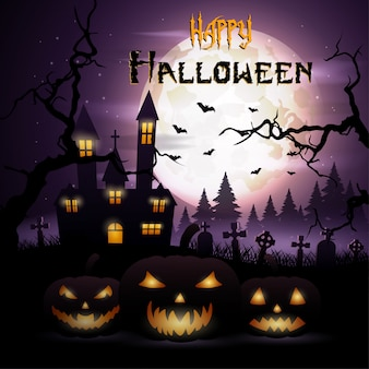 Halloween-hintergrund mit kürbisen und furchtsamer kirche