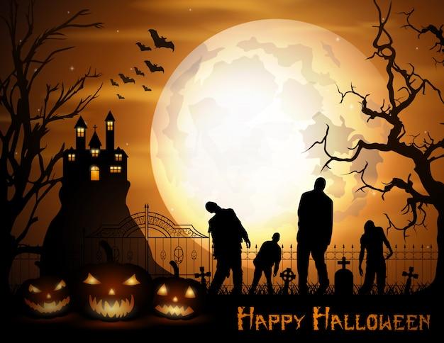 Halloween-hintergrund mit kürbisen