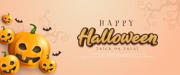 Halloween-hintergrund mit kürbissen auf der linken seite