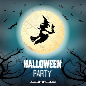 Halloween hintergrund mit mond und hexe