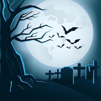 Halloween hintergrund mit mond