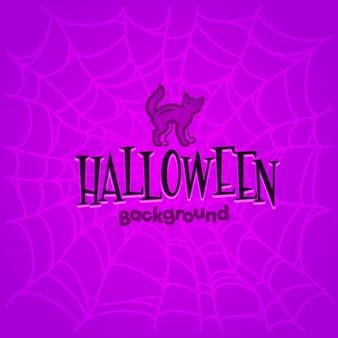 Halloween-hintergrund mit ñat und spinnennetzen.