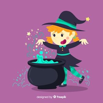 Halloween-hintergrund mit niedlicher hexe