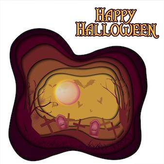 Halloween-hintergrund mit papierschnittart