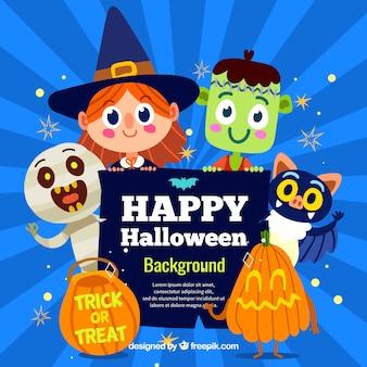 Halloween Hintergrund mit schönen Kostümen