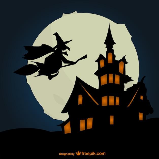 Halloween-hintergrund mit silhouetten
