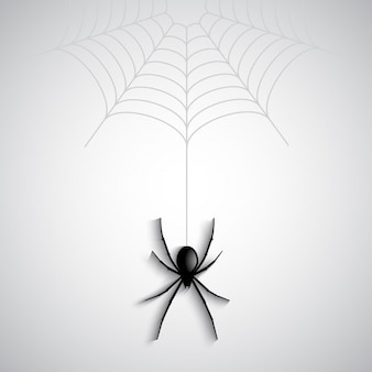 Halloween-hintergrund mit spinnen baumelt von einem spinnennetz