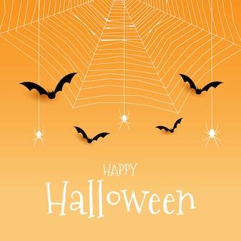 Halloween-hintergrund mit spinnenfledermäusen und spinnennetz-design