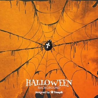 Halloween-hintergrund mit spinnennetz im aquarell