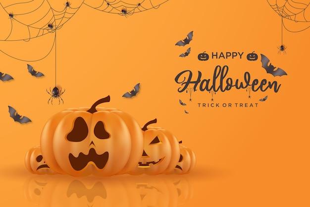 Halloween-hintergrund mit spinnennetz und fledermausillustration