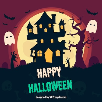 Halloween hintergrund mit spuk haus und gespenster
