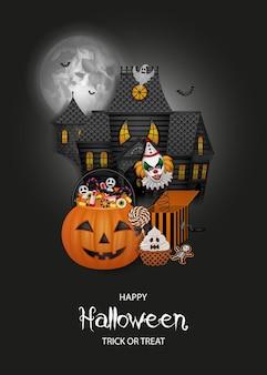 Halloween-hintergrund mit spukhaus-kürbiseimer und süßigkeiten
