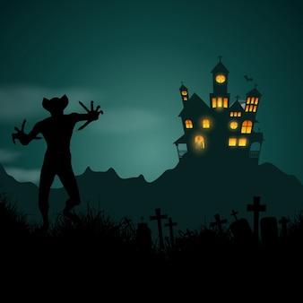 Halloween hintergrund mit spukhaus und dämonische figur