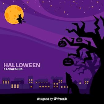 Halloween-hintergrund mit stadt-skylinen