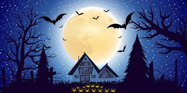 Halloween-hintergrund mit steigungslicht im flachen design
