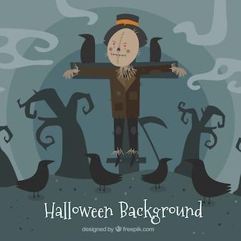 Halloween hintergrund mit vogelscheuche