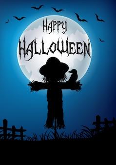 Halloween-hintergrund mit vogelscheuchenschattenbild