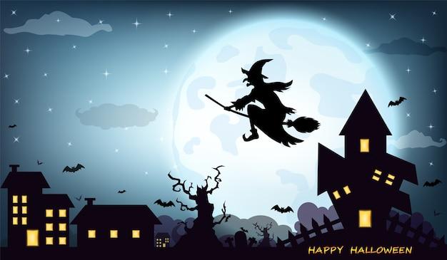 Halloween-hintergrund mit vollmond des schwarzen schattenbildes der hexe