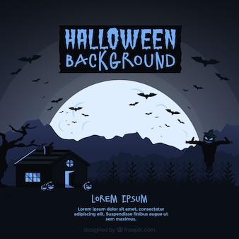 Halloween-hintergrund mit vollmond und haus