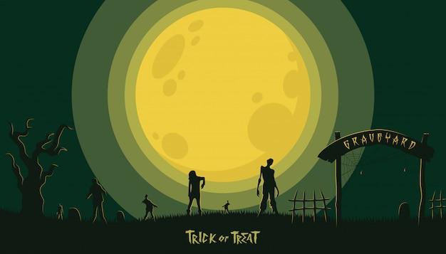 Halloween-hintergrund mit zombie am friedhof