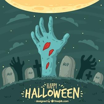 Halloween hintergrund mit zombie-design