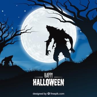Halloween-hintergrund mit zombie