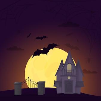 Halloween-hintergrund-nachtwald mit mondvektorillustration. gespenstische beängstigende friedhofseinladung des herbstes. mystery-angst-poster. horror böse party. allerheiligen abend. heiliger tag
