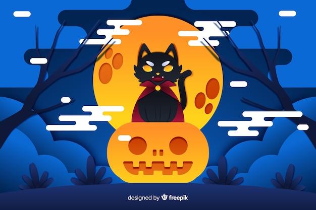 Halloween-hintergrund schwarzer katze draculas