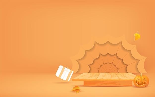 Halloween-hintergrunddesign mit hölzerner podiumsanzeige