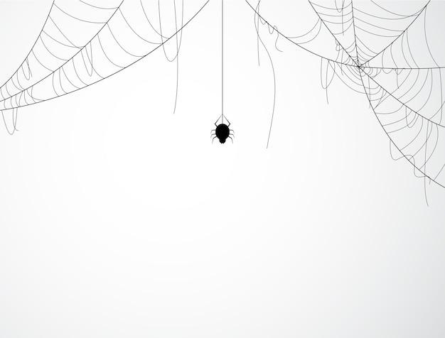 Halloween-hintergrunddesign mit schwarzer spinne und heftigem netz