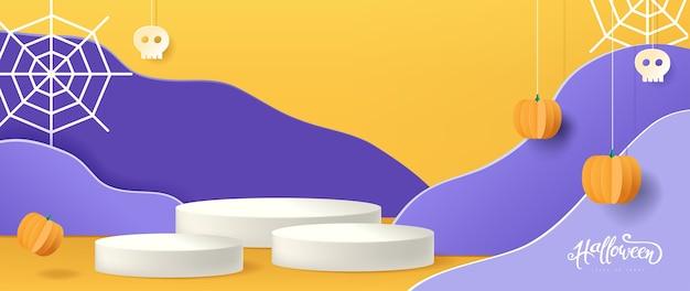 Halloween-hintergrunddesign mit zylindrischer form der produktanzeige, papierschnittart.