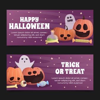 Halloween horizontale banner mit farbverlauf eingestellt