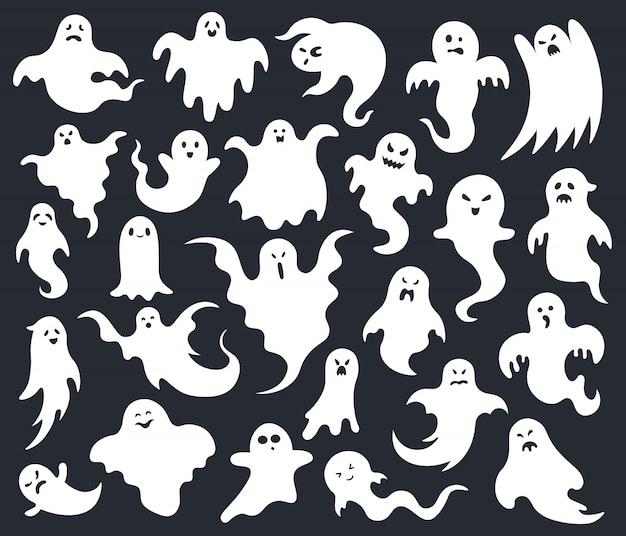 Halloween horrorgeist. gruselige gruselige geister, lustiger niedlicher charakter des geistes, phantomgeister-halloween-maskottchen-illustrationssatz. gesicht gruseliges monster, feiertagsschattenbildkreatur