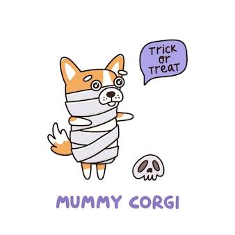 Halloween hunderasse waliser corgi in einem mumienkostüm in