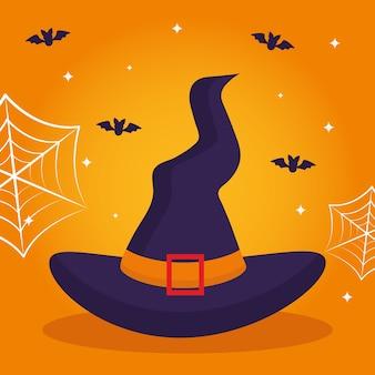 Halloween-hut mit fledermausdesign, gruseliges thema