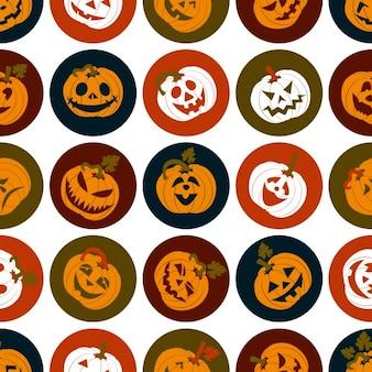 Halloween-icon-set von fröhlichen kürbisse nahtlose muster