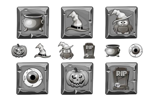 Halloween-ikonen auf steinquadrat. halloween-stilikone in gebleichter farbe eingestellt