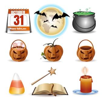 Halloween-ikonen eingestellt. bunte karikaturikonen des vektors lokalisiert