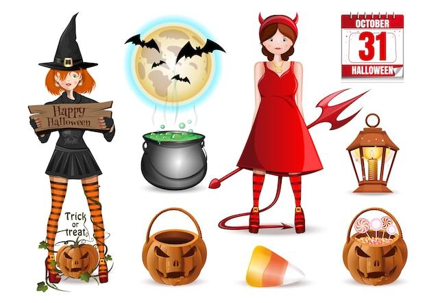 Halloween-ikonen eingestellt. sammlung von mehrfarbigen karikaturikonen isoliert.