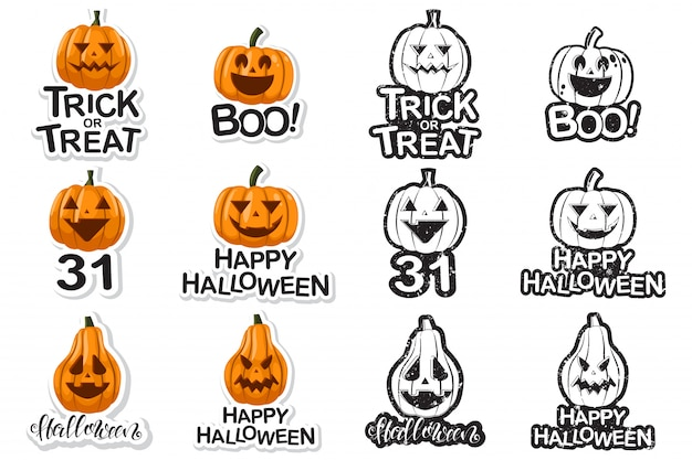 Halloween-ikonen mit dem lustigen kürbiskarikatursatz lokalisiert auf weiß.